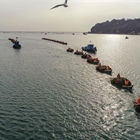 Fishermen gather to harvest kelp in Rongcheng City, Shandong