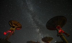 Starry night over Ming'antu observing station of National Astronomical Observatories in Inner Mongolia
