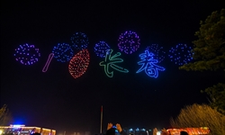 Drone light display held as part of Changchun Int'l UAV Industrial Expo