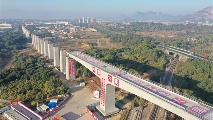 Section of Jiulongjiang Grand Bridge rotates to designated position
